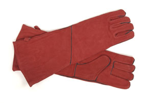 "Hearth Gloves - Large / Red w/black trim 20"" long"