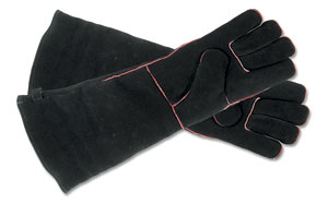 "Hearth Gloves - Large /Black w/red trim 20"" long"