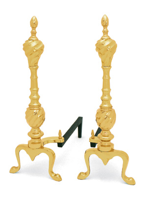 Andirons Solid Brass and Iron Swirl / Clear Lacquer
