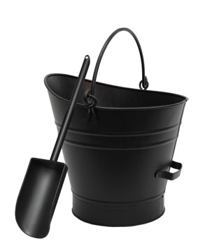 Coal Hod / Pellet Bucket w/ Scoop / PC - Black