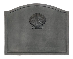 Large Shell Fireback  / Cast Iron - Black