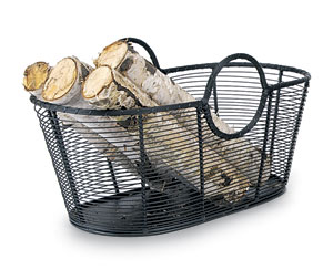 Wood Basket - Steel Wire - Small